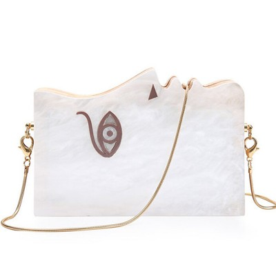 2017 designer wallet famous brand women new clutch Fashion Customized acrylic wood mosaic woman face elegant lady casual handbag