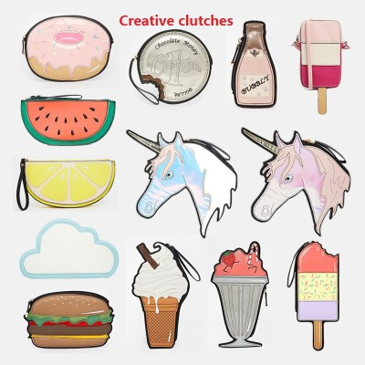 Fun Popular Cheap Fashion Unique Purses and Handbags American fashion funny clutch different shaped handbag hamburger cloud bubbly ice cream lemon coin chocalate small creative bags