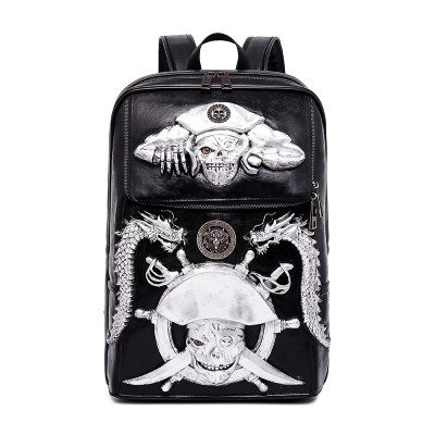 Gothic Steampunk Unique backpack cool bag steampunk fashion PU Leather Backpacks Vintage Rock Women Men Bags Rivet Computer Bags 3D Black Large Capacity Bags