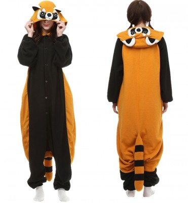 Cartoon Raccoon Adult Pajamas Fleece Animal Jumpsuit Homewear Unisex Onesie Racoon Sleepwear