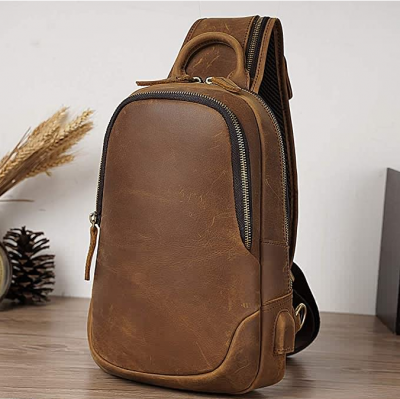 Men's Leather Sling Bag Vintage Chest Shoulder Bags Casual Crossbody Backpack with USB Charging Port