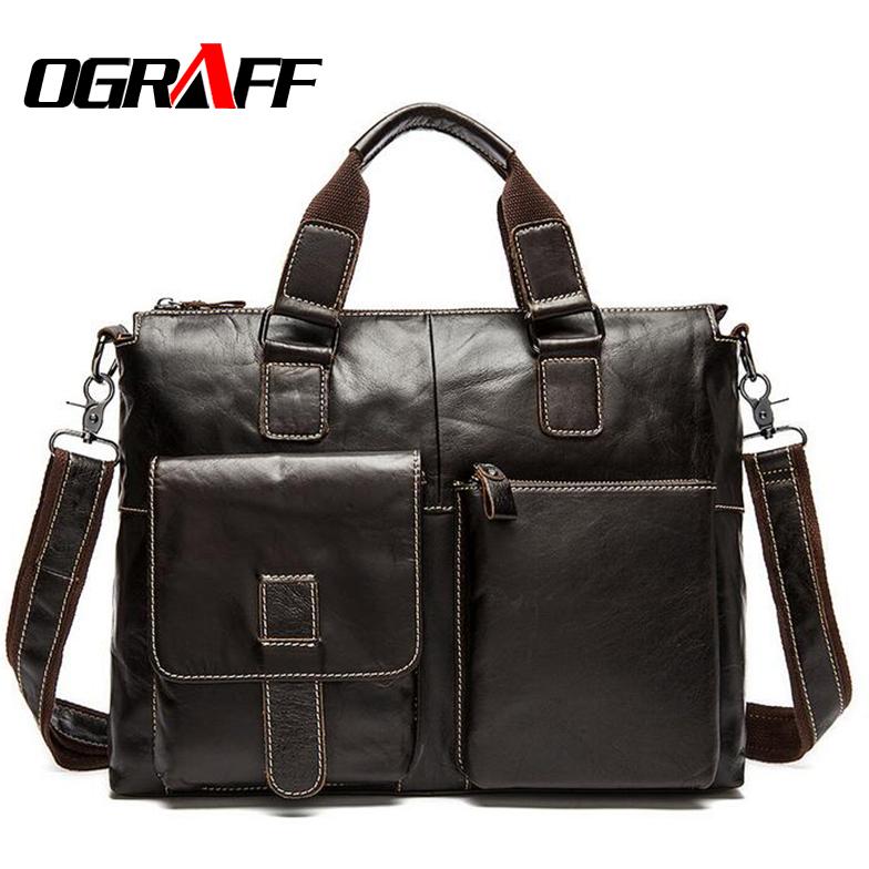 Ograff 2017 Men Messenger Bags Genuine Leather Bag Men Briefcase