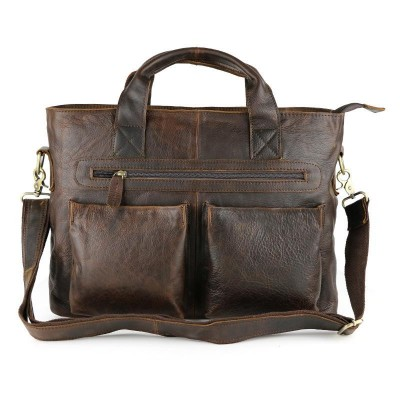 Vintage Chocolate Real Skin Mens Briefcase Genuine Leather Male Messenger Bags Soft Cowhide Portfolio 15 Laptop Totes Handbag