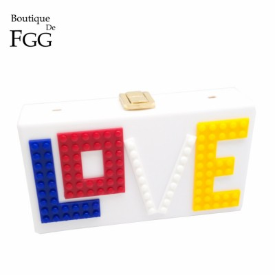 Women Brand LOVE Letters White Acrylic Clutch Shoulder Bag Hardcase Handbag Clutches Wedding Party Prom Purse Ladies Evening Bag
