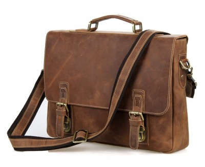 Nesitu Vintage Brown 100% Guarantee Genuine Leather Crazy Horse Leather Men Messenger Bags Briefcase 15.6'' Laptop Bag #M7229