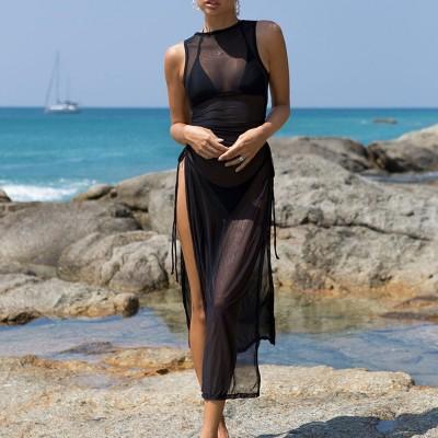 Black Halter Bikini Female Swimsuit Women Swimwear Three-pieces Bikini set With Dress High Leg Cut Bather Bathing Suit Swim Lady