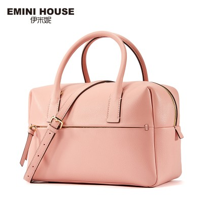 EMINI HOUSE Split Leather Women Handbag Trunk Women Messager Bags High Capacity Shoulder Bag Simple Style Boston Bag