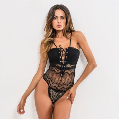 Fashion Strappy Backless Bodysuit Women Black Sleeveless Embroidery Perspective Romper Jumpsuit Hollow Out Playsuits Tanks