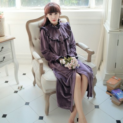 Winter Bathrobe Women Long Nightgown Robe Vintage Princess Robe Spa Robes Lounge Suits Pyjama Winter Clothing Female
