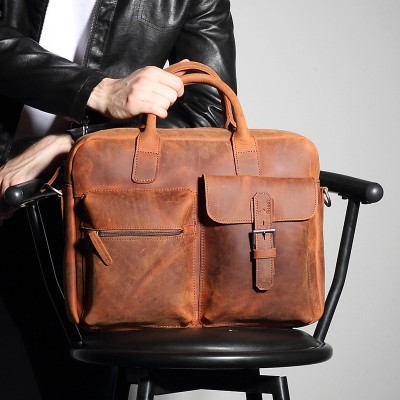 Vintage Sale Crazy Horse Leather Portfolio 15 Inch Laptop Bag High Quality Briefcase Messenger Shoulder Handbag Designer Tote