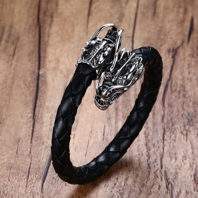 Mens Stainless Steel Dragons Head Elastic Braided Leather Open Bracelet Cuff Wristband Men Punk Bike Vintage Male Jewelry