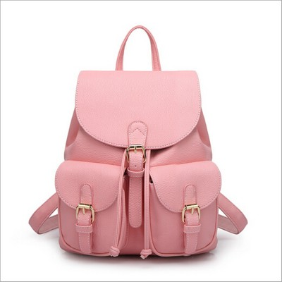 2019 New Women Leather Backpack Black Bolsas Mochila Feminina Large Girl Schoolbag Travel Bag Solid Candy Color Green Pink Beige