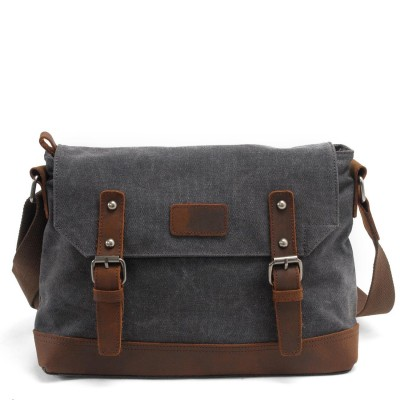 Real Leather Vintage Canvas Bags Simple Retro Style Mens Cross Body Shoulder Messenger Bag Crazy Horse Leather Male Bags