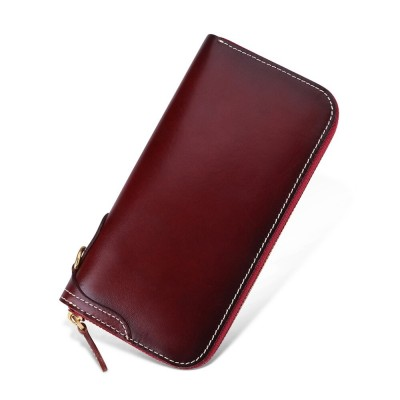 New Genuine Leather Wallet Men Women Clutch Bag Zipper Wallet Cowhide Female Purse Long Women Wallets Coin Purse