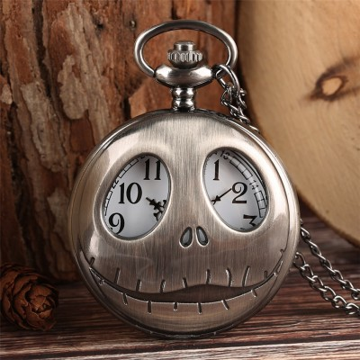 Hollow Display Pocket Watch Quartz Retro Grey/Bronze Pendant Watch The Nightmare Before Christmas Necklace Clock Gifts for Kids