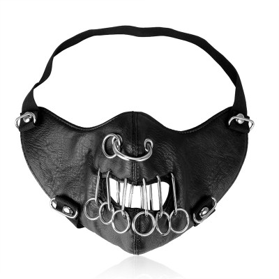 Punk Rock Black Leather Masks 2019 Cool Women Men Mask Fashion Motorcycle Face Mask Hip-hop Halloween Party Metal Loop Masks