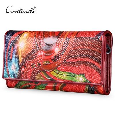 CONTACT'S Women Clutch Genuine Leather Handbag Brand Crossbody Bag For Mini Ladies Handbag Evening Bag With Card Holder