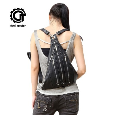 Gothic Steampunk Unique backpack cool bag steampunk fashion visual rock triangle backpack men women unisex