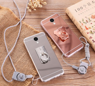 Meizu M5 Note case cover Nature clear TPU Mirror soft case for Meizu M5 Note Luxury brand with rope holder Phone Cases For meizu