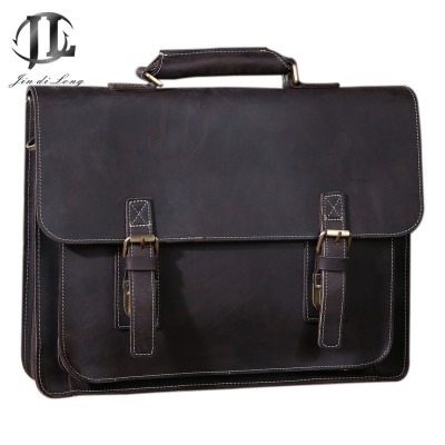 New Crazy Horse Genuine Leather Men Classic Briefcase Handbag Shoulder Bussiness Zipper Laptop Notebook OL Bags
