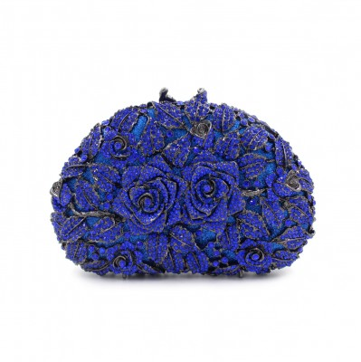 Blue/Red evening clutch bags rose flower shape luxury diamond clutch evening bags studded crystal wedding Bride party purse