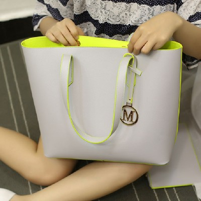 Women Handbags Pu Leather Composite Bags Big Gray Shoulder Bag Designer Bags Handbags Women Famous Brands Set Tote+Clutch Bag