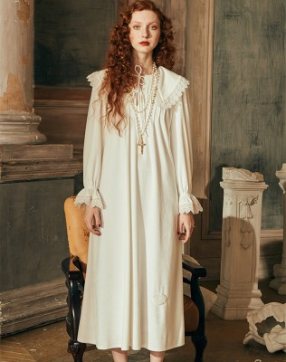 Winter Nightgown Women Long-sleeved Sleepwear Ladies Queen Palace Dress Nightgown Winter