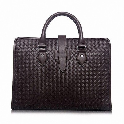 Men's Genuine Leather Briefcase Vintage Weave Business Lawyer Briefcase Messenger Shoulder handbag Attache Portfolio ToteLI-1393