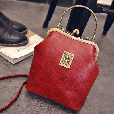 Retro Metallic Handle Simple Handbag Women Trendy Fashion Shell Bag Designer Casual PU Leather ShoulderCrossbody Bag
