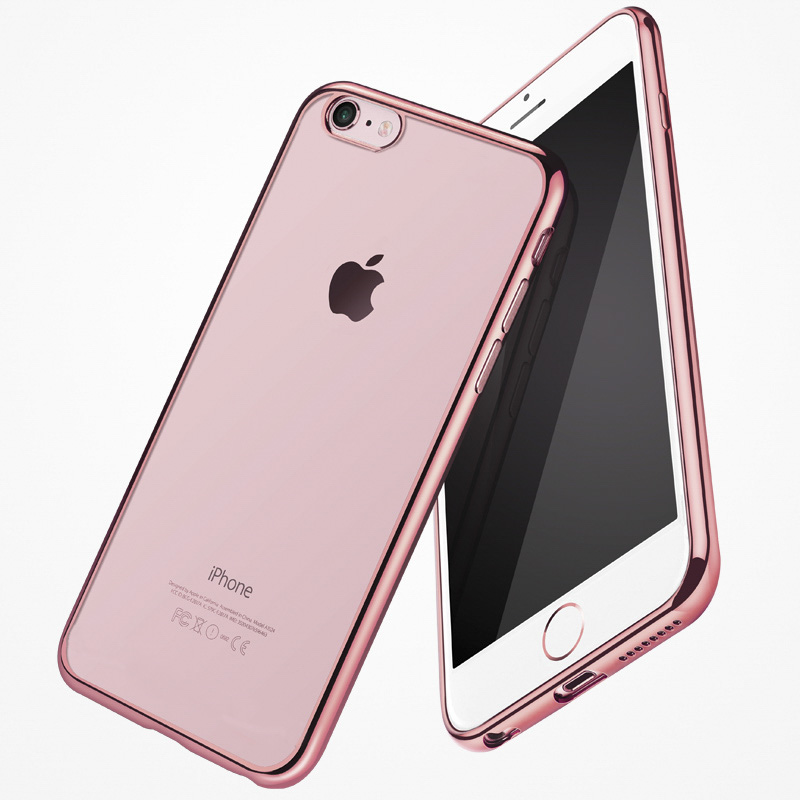For Iphone 7 Transparent Plating Phone Cover For Iphone 7 Case Rose Gold Silver Fashion Gift Cases Shell