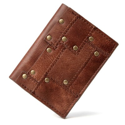 Punk Brown Fashion Lattice Mens Women Wallet European Stylish Steampunk Rock Purse Personality Retro Short Rivet Wallet