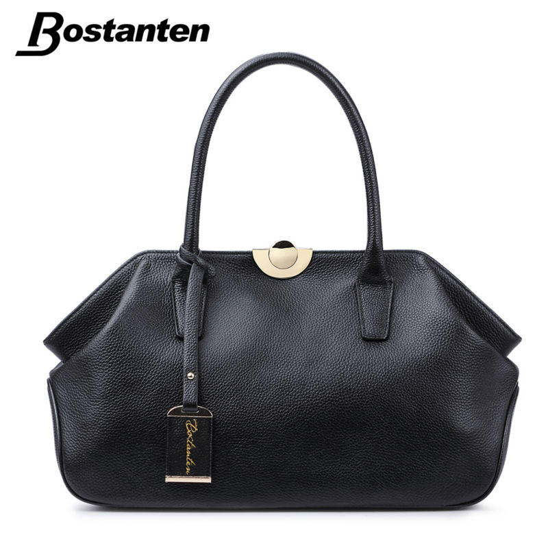 d62c249b762 Bostanten Genuine Leather Bags Ladies Real Leather Bags Women Handbags High  Quality Tote Bag for Women Black Fashion Clip Hobos