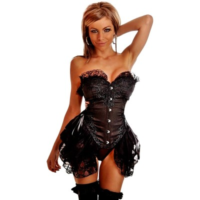 Black Burlesque Embroidery Tulle Gothic Corset Dress For Women Steampunk Top Lingeries Lace Overbust Corsets And Bustiers XXL