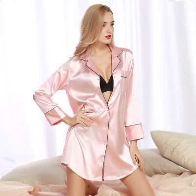 Women Nightgowns Satin Sleepwear Nightshirts Long Sleeve Silk Casual Loose Night Dress Summer Home Clothing Home Dress