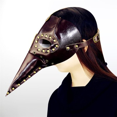 Uniqstore PU Skin Plague Long Beak Doctor Mask Long Bird Skull Mask Halloween Cosplay Party Festival Party Supplies Role-playing