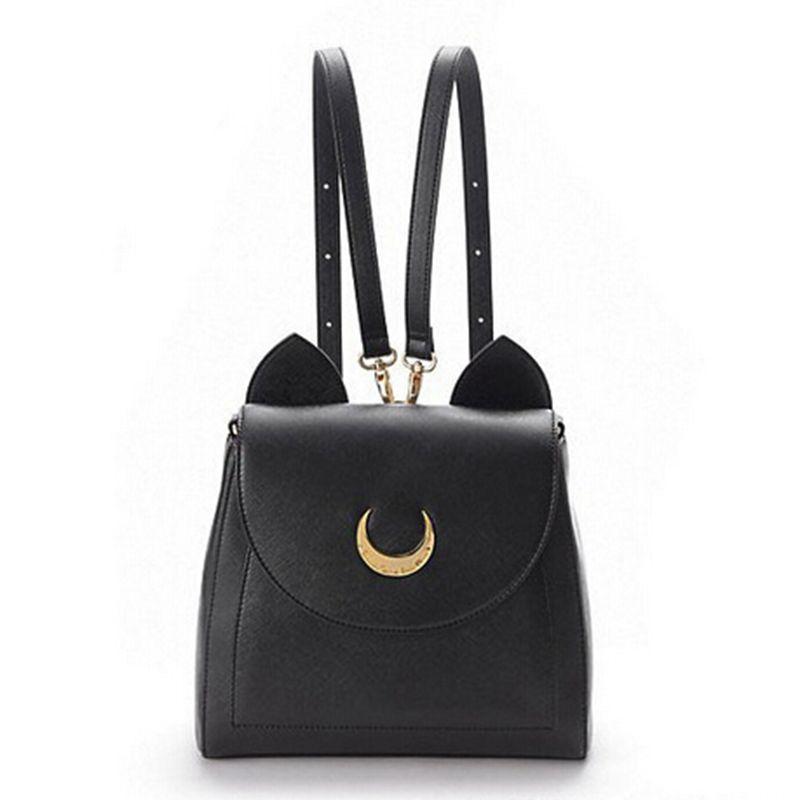 Girl Sailor Moon Luna Cat Leather Shoulder Handbag Cosplay Casual Tote Purse Bag