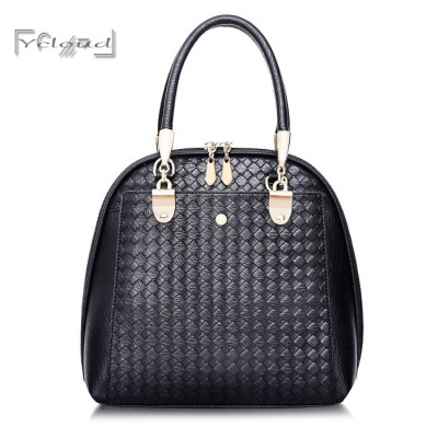 European Fashion Multifunction Black Weave Designers Handbags High quality Women leather Messenger bags Shell Shoulder Tote Bag
