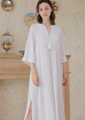 Women Night Dress Gowns Embroidery White Nightgown Autumn Sleepwear Comfortable Homewear Nightgown Pregnant woman