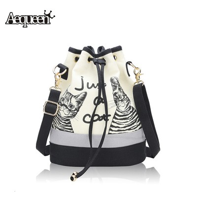 2019 New Fashion Retro Women Canvas Bucket Bags Cute Cat Print Shoulder Bag Casual Drawstring crossbody bag women messenger bags