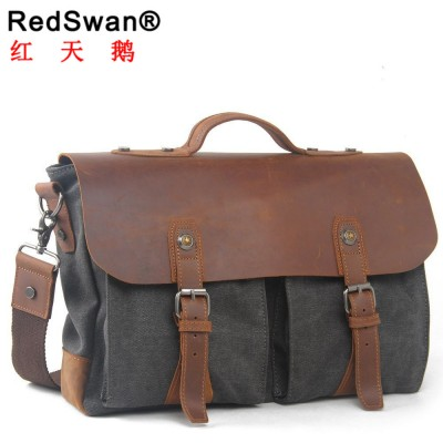 fashion high qualities promotion canvas cover business dress men's briefcase bag vintage casual handbags