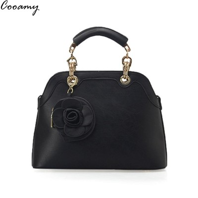 Cooamy Women Handbags PU Leather Women Shell Bag Fashion Flower Casual Women Shoulder Bag Famous Brand Bag Messenger Bag