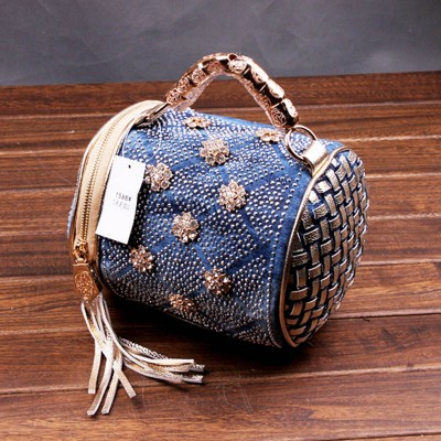 Rhinestone Handbags Designer Denim Handbags 2019 New Vintage Blue Women Handbags Large Capacity Fashion Denim Shoulder Bag Famous Brand