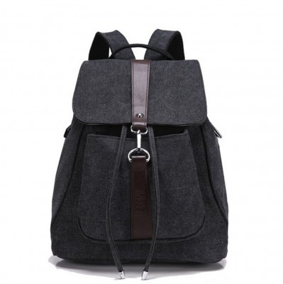 Women's Girls' Fashion Canvas Travel Backpack College School Bag Black Lady Female Casual Bags Mochila Feminina