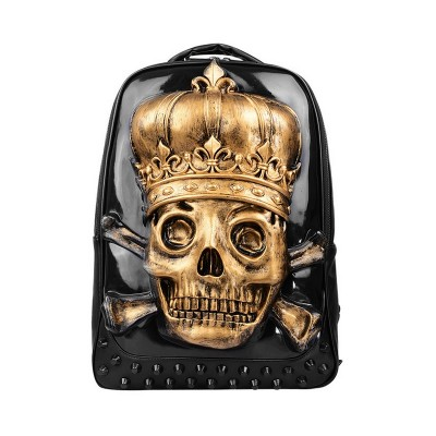 3D Printed PU Leather Pirate Skull Crown Backpack Gothic Steampunk Unique backpack cool bag steampunk fashion Youth Cartoon School Bags Knapsack For Teenage Boys Bookbag
