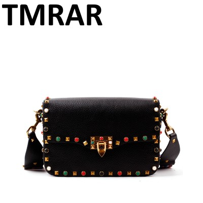 2017 New genuine leather rock color stud handbags women fashion color rivets shoulder bags easy matching for valentines M1928