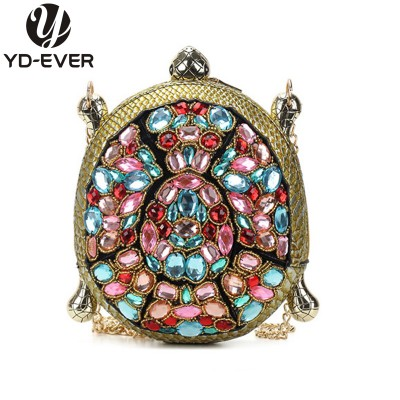 Animal Bags 2019 new personality tortoise shape bag fashion leather cool crocodile messenger bag diamond chains small shoulder bag