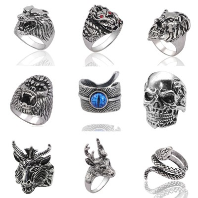 Gothic Punk Ring Men Retro Rabbit Snake Tiger Wolf Rings Skeleton Devil Evil Eye Pentagram Animal Male Ring Stainless Steel Anel