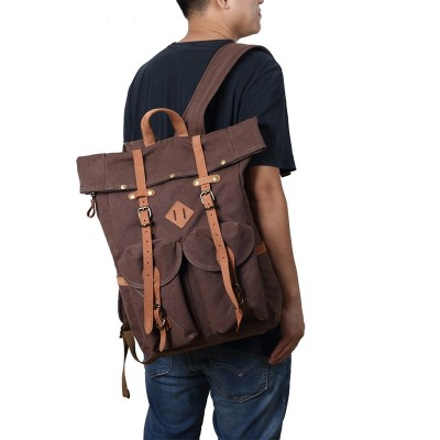 Vintage Travel Bags Men Women Genuine Leather Backpack Men Leather Genuine Shoulder Bag Backpack Men