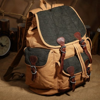 Unisex Vintage Crazy Horse Leather Canvas Mens Backpack Girls Large Travel Military Canvas School Bag Rucksack Bagpack leather