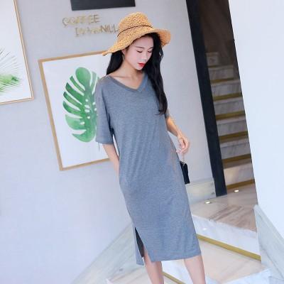 Women Nightgowns Summer Sleepwear Casual Night Dresses Plus size Short Sleeve slit dresses women Loose Nightdress Home Clothes